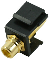 Black RCA Modular Keystone Jack with Yellow Insert (CA-2209-Y-BK)