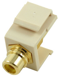 Ivory RCA Modular Keystone Jack with Yellow Insert (CA-2209-Y-IV)