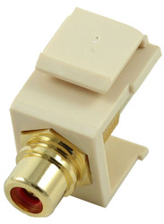 Ivory RCA Modular Keystone Jack with Red Insert (CA-2209-R-IV)