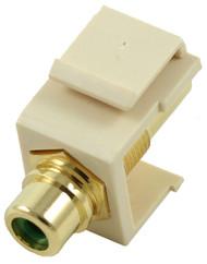 Ivory RCA Modular Keystone Jack with Green Insert (CA-2209-G-IV)