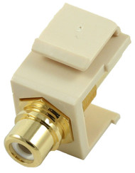 Ivory RCA Modular Keystone Jack with White Insert (CA-2209-W-IV)