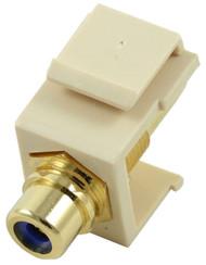 Ivory RCA Modular Keystone Jack with Blue Insert (CA-2209-B-IV)