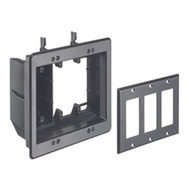 Triple Gang Recessed Combination Power and Low Voltage Box Black (TVBU507BL)