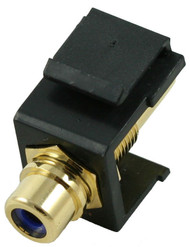 Black RCA Modular Keystone Jack with Blue Insert (CA-2209-B-BK)
