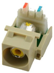 Ivory RCA to 110 IDC Keystone Module w/ Yellow Insert (CA-2140Y-IV)