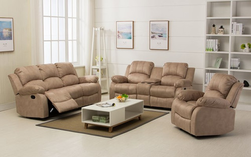 Beau Veria Recliner With Console In Creme Brulee