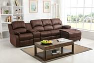 Veria 4 Seater Sectional Recliner in Brown
