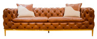 Shaker Buttoned Sofa In Leather (Vegetable Brown) - OUT OF STOCK