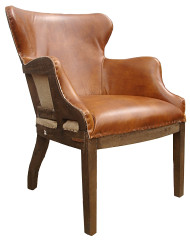 Mark Twains Writers Chair In Leather (Vegetable Brown)