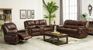 Austin 7 Seater Recliner in Brown Leather Gel