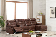 Edessa 4 Seater Sectional Sofa in Brown Leather Gel