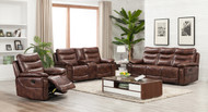 Edessa 7 Seater Recliner in Brown Leather Gel