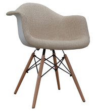 Eames Style Bistro Chair in Beige Fabric - OUT OF STOCK