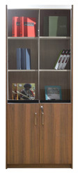 Empire 5T Glass Door Filing Cupboard in Dark Oak - OUT OF STOCK