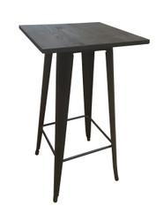 Bistro Bar Table In Black/Gold & Elm Top