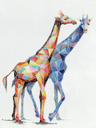 Painting - Giraffes in Geo Symmetry  (G0253)
