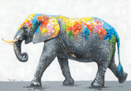 Painting - Colorful Elephant (F0122)