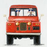 Painting - Old Landrover With Giraffes (G0219)