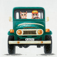 Painting - Old FJ Cruiser With Cats (G0220)