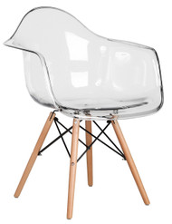 Retro Eames Style Bistro Chair With Arms in Clear - OUT OF STOCK
