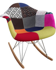 Eames Style Rocking Chair In Patchwork Fabric