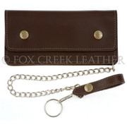 Large Trucker Wallet with Chain Brown
