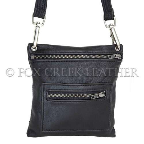 Leather Zip Flat Crossbody Bag