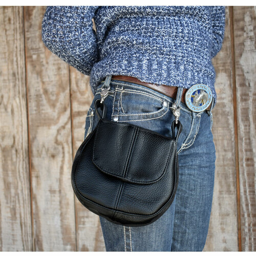 Allison is modeling the Leather Belt Purse in black.