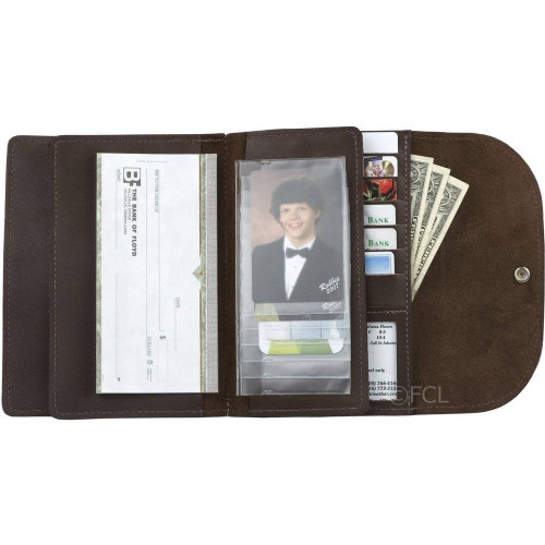 Open View of the Ladies Large Credit Card Wallet in Brown.
