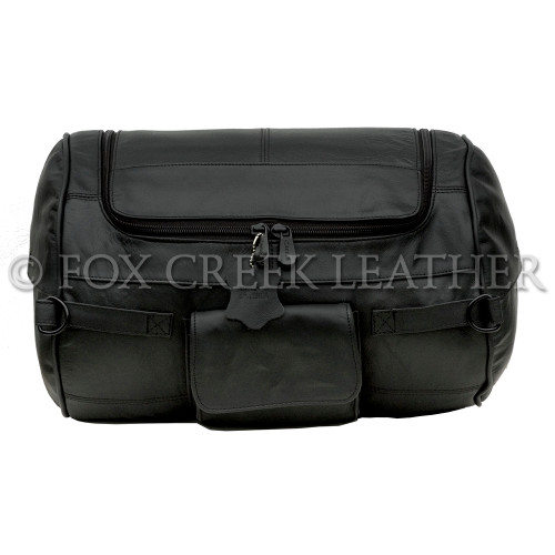 Front view of the Leather Roll Bag