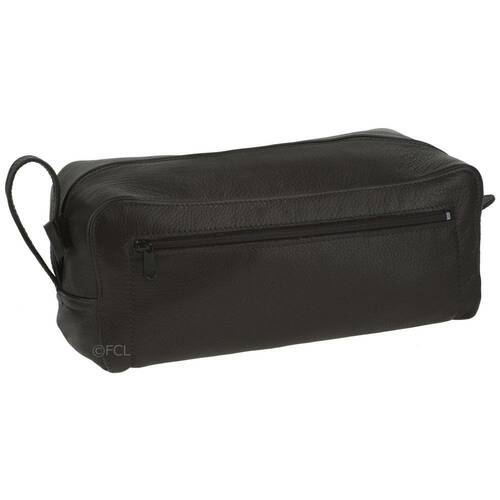Black Leather Shaving Kit Bag