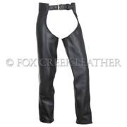 Two-Piece Leather Motorcycle Chaps - Size S Long (Clearance 10)