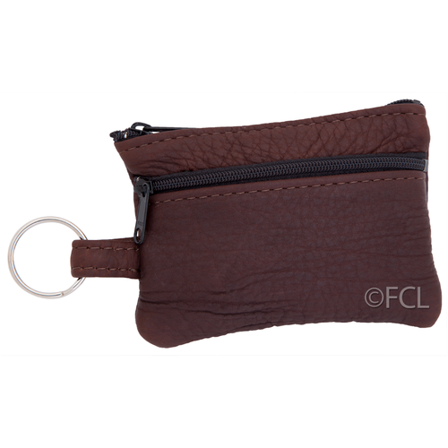 Front view of the buffalo leather change purse.