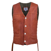 Front view of the Tobacco Elkskin Vintage Vest (shown with Authentic US Minted Buffalo Nickel Coin Snaps)