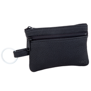 Front view of the Elkskin Change Purse in black