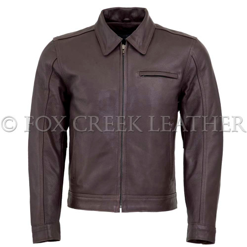 Men's Brown Vintage Leather Jacket - Fox Creek Leather