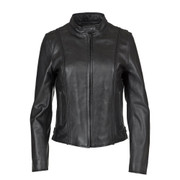 Front view of the Women's Braided Leather Jacket