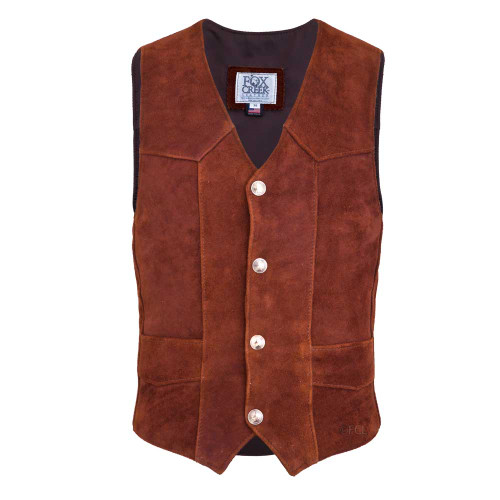 Front view of the Suede Elkskin Classic Vest (shown with Authentic US Minted Indian Penny snaps)