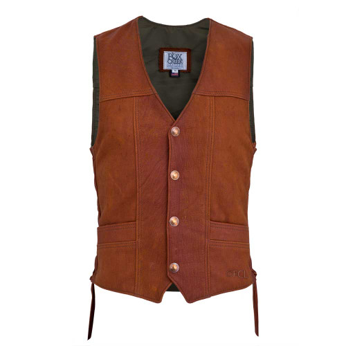 Front view of the Distressed Elkskin Classic Vest (shown with Authentic US Minted Indian Penny snaps)