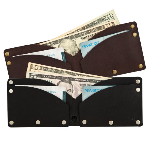 Rivet wallet holds cash and cards