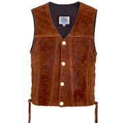 Front view of the Suede Elkskin Hwy 21 Vest (shown with Authentic US Minted Indian Penny snaps)