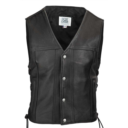 Front view of the Highway 21 Leather Vest