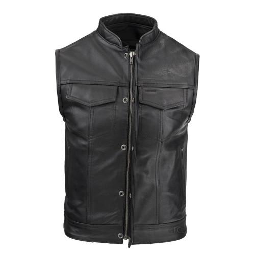 Men's Zippered Rebel Vest with hidden snaps and front zipper