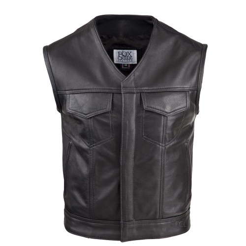 Front view of the V-Neck Leather Rebel Vest