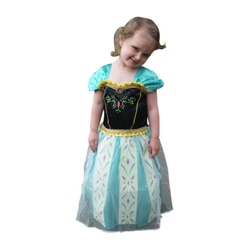 Girl in Frozen Anna Coronation dress front.