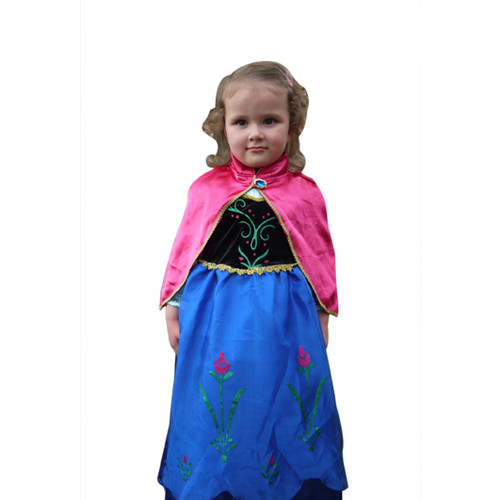 Girl in Frozen Anna Winter Dress with Cape front.