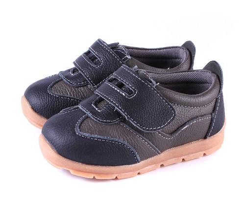 Boys Black Genuine Leather Sneaker Front.