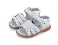 Girls White Genuine Leather Open Foot Sandal.