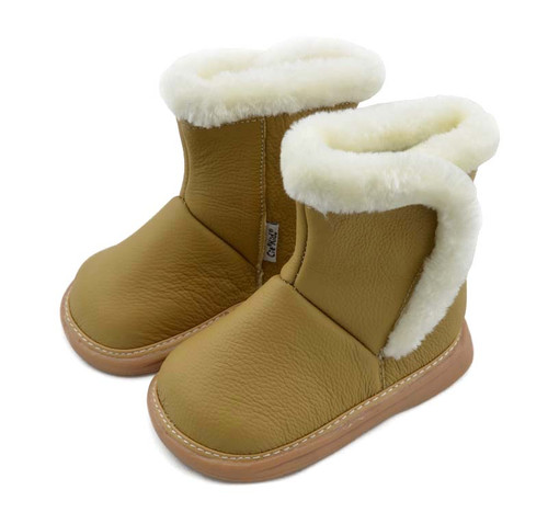 Camel (light brown) leather boots.