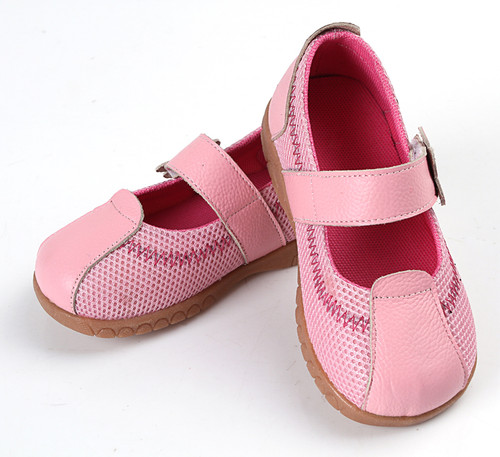 Pink Leather + Mesh Shoe on angles.